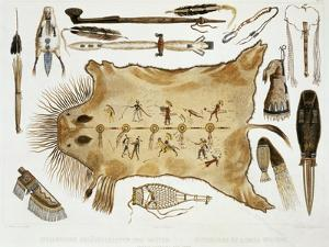 """Indian Utensils and Arms, Plate 21 from Volume 2 of """"Travels in the Interior of North America"""" by Karl Bodmer"""