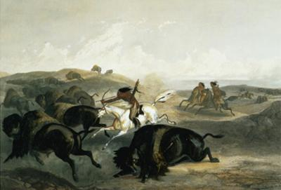 Indians Hunting the Bison, Plate 31 from Volume 2 of 'Travels in the Interior of North America' by Karl Bodmer