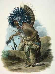 Medicine Man of the Mandan Tribe in the Costume of the Dog Dance, 1834 by Karl Bodmer