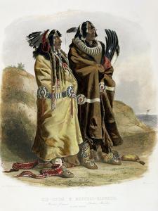 Sih-Chida and Mahchsi-Karehde, Mandan Indians by Karl Bodmer
