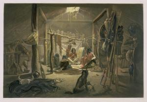 The Interior of the Hut of a Mandan Chief, Plate 19 by Karl Bodmer