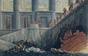 "Egyptian Set Design for Act II, Scene XXviii of the Opera ""The Magic Flute"" by Karl Friedrich Schinkel"
