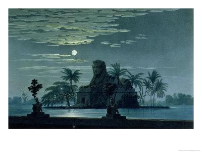 "Garden Scene with the Sphinx in Moonlight, Act II Scene 3, Set Design for ""The Magic Flute"""