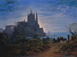 Gothic Church on a Rock by the Sea. 1815 by Karl Friedrich Schinkel