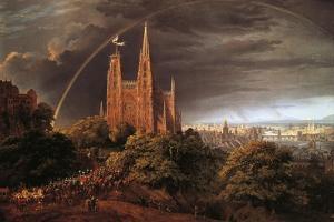 Medieval City on Banks of River by Karl Friedrich Schinkel