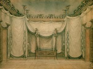 Queen Louise's Bedroom, Schloss Charlottenburg, First Design, 1809-10 by Karl Friedrich Schinkel