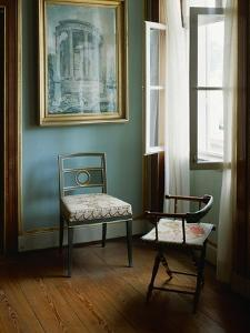 Two Chairs in the Living Room of Charlottenhof-Palace in the Gardens of Sanssouci by Karl Friedrich Schinkel