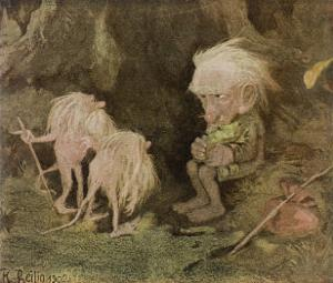 Troll with His Pet Frog Meets Two Long-Tailed Creatures by Karl Heilig