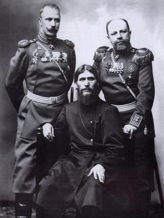 Grigori Rasputin, General Count Mikhail Putyatin and Colonel Dmitriy Lotman, 1904-1905