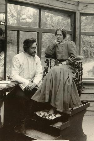Russian Author Leonid Andreyev with His Wife, Early 20th Century