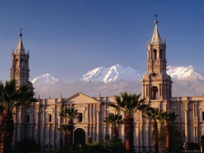 Arequipa Cathedral and Chachani Volcano