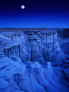 Full Moon Rises Over Landscape in De-Na-Zin Wilderness, Bisti Badlands, New Mexico, USA by Karl Lehmann