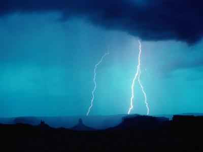 Lightning Over Great Basin Desert, Four Corners Monument Navajo Tribal Park, Utah, USA