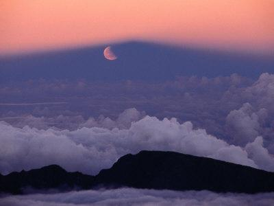 Lunar Eclipse at Sunset with a Moonrise from Summit of Mt. Haleakala, Haleakala NP, Maui, Hawaii