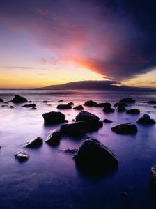 Sunset Over the Island of Lanai Viewed from West Maui, Lanai, Hawaii, USA by Karl Lehmann