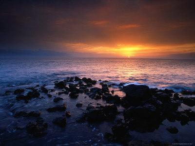 Sunset over the Pacific Ocean from Near Mala Wharf, Lahaina, Maui