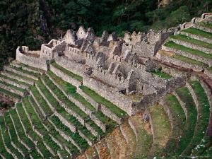 Terraced Ruins on Inca Trail, Huinay Huayna by Karl Lehmann