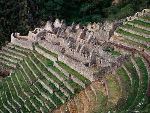 Terraced Ruins on Inca Trail, Huinay Huayna by Karl Lehmann
