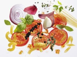 Pasta, Tomatoes, Herbs, Spices, Onions, Garlic by Karl Newedel
