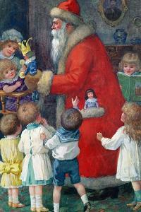 Father Christmas with Children by Karl Roger