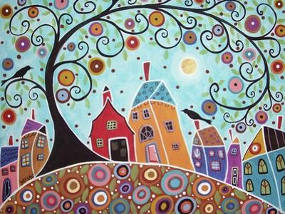 Houses Barn Birds & Swirl Tree