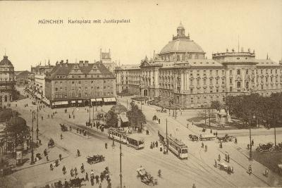 Karlsplatz with the Palace of Justice in Munich--Photographic Print
