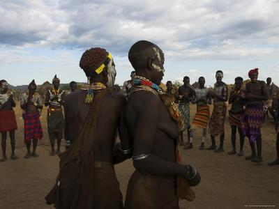 Karo People with Body Painting, Dancing, Lower Omo Valley-Jane Sweeney-Photographic Print