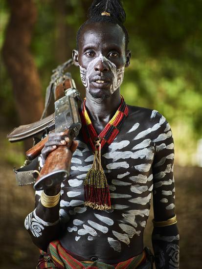 Karo tribe man, Ethiopia, Africa-Neil Thomas-Photographic Print