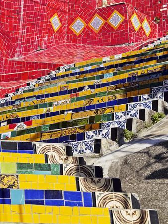 Brazil, City of Rio de Janeiro, Detailed view of the Selaron Steps connecting Lapa and Santa Teresa