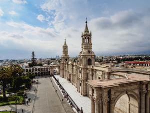 Cathedral, Plaza de Armas, elevated view, Arequipa, Peru, South America by Karol Kozlowski