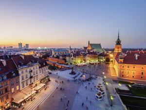 Elevated view of the Castle Square at twilight, Old Town, Warsaw, Masovian Voivodeship, Poland, Eur by Karol Kozlowski
