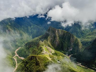 Machu Picchu Ruins seen from the Machu Picchu Mountain, UNESCO World Heritage Site, Cusco Region, P