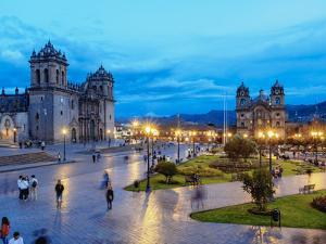 Main Square at twilight, Old Town, UNESCO World Heritage Site, Cusco, Peru, South America by Karol Kozlowski
