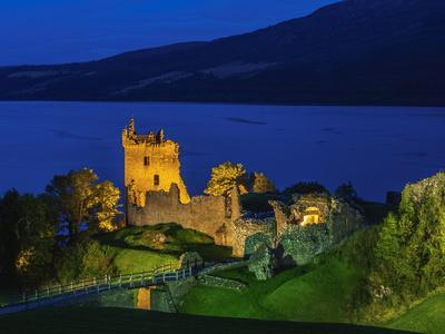 Twilight view of Urquhart Castle and Loch Ness, Highlands, Scotland, United Kingdom, Europe