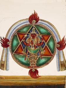 Karttikeya in the Centre of an Encircled Shatkona, from Thanjavur, India