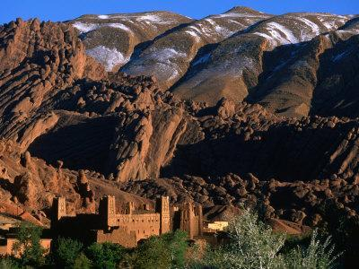 Kasbah at sunset, Ait Arbi, Dades Valley, Road of Kasbahs