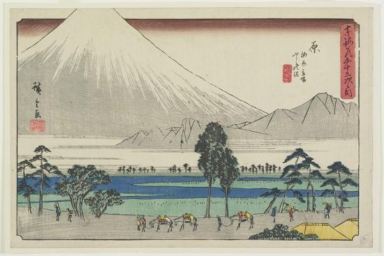 Kashiwahara Rest Area by the Pond with View of Mt. Fuji, Hara, 1841-1842-Utagawa Hiroshige-Giclee Print