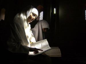 Kashmiri Muslim Girls Read the Holy Quran at Jamia Masjid in Downtown Area of Srinagar, India