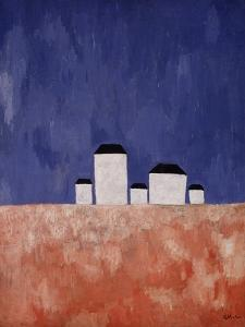 Landscape with Five Houses, c.1932 by Kasimir Malevich
