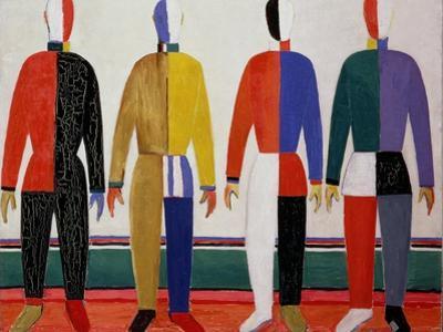 Sportsmen, or Suprematism in Sportsmen's Contours, 1928-32 by Kasimir Malevich