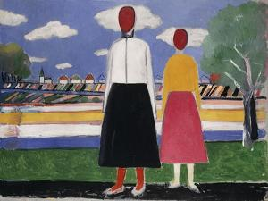 Two Figures in a Landscape, C.1931-32 by Kasimir Malevich
