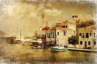Kastelorizo Bay - Artistic Retro Styled Picture-Maugli-l-Art Print