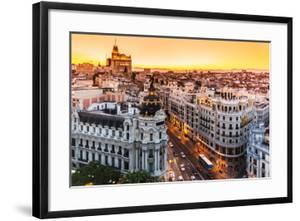 Panoramic View Of Gran Via, Madrid, Spain by kasto