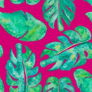 Aqua Leaves On Pink by Kat Papa