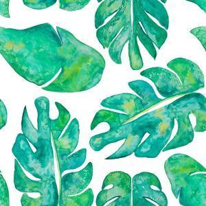 Aqua Leaves On White by Kat Papa