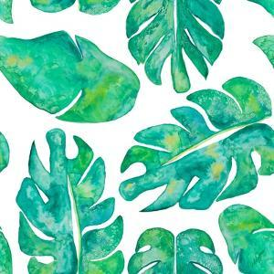 Aqua Leaves On White by Kat Papa