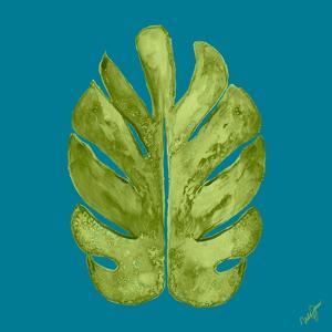 Leaf On Teal I by Kat Papa