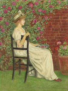 A Young Girl Seated in a Chair, a Bowl of Cherries in Her Hand, (Pencil and W/C on Paper) by Kate Greenaway