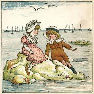 Girl and Boy Sitting on a Rock by Kate Greenaway