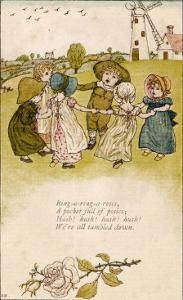 Six Children Dance in a Circle to Play Ring O' Roses by Kate Greenaway